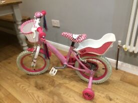 "Hello Kitty bike with stabilisers, bell and streamers 14"" vgc"