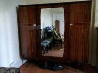CHEAP large beautiful Art Deco lacquered wood double wardrobe with shelves