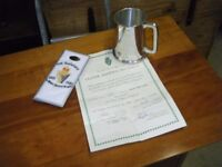 UDR tankard and certificate