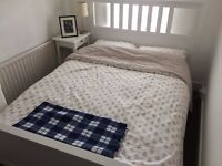 White Double Bed Frame and Mattress, very good condition