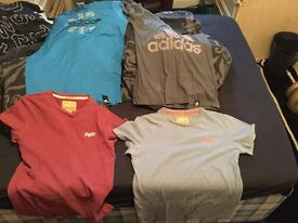 Men's size small t shirts Superdry and adidas job lot