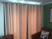 Luxury Fully Lined heavy weight Neutral coloured Curtains with Chocolate trim. Ring mounted