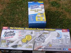 cordles turbo scrub deluxe &head brush set as new