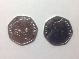 Tom Kitten & Benjamin Bunny 50p coins from the 2017 Beatrix Potter Collection.