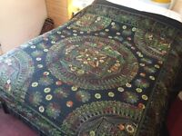 Black embroidered Bangla blanket with two matching pillow cases