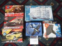 5x Job Lot Models Boxed,Die Cast,Revel Cutty Sark,Hawker Hurricane,Helicopter,Muscle Car,Plain
