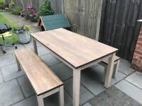 Solid wood table with bench seats