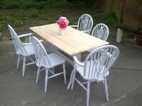 FARMHOUSE TABLE 5 chairs rustic reclaimed plank top tops SHABBY CHIC app 5ft x 3ft