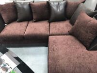 CORNER SOFA-RIGHT HANDED-PLAIN FABRIC- FAUX LEATHER