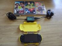 Sony PSP Console with Carry Case, Genuine Wall Charger + 3 Games Little Big Planet, Ben 10, PES 2008