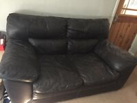 Brown leather 2 seater sofa - Sutton - free to collector