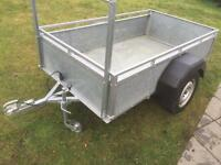 Good size trailer approx. 7'x4' galvanised sides & floor all steel motorbike quad mower lawnmower
