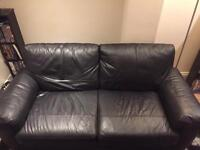 Black Leather Sofa(s) 3 or 2 seater