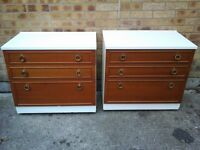 Pair white/med coloured wood chest of 3 draws £25 each