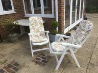Full patio set including table, 4 chairs, umbrella & 2 loungers