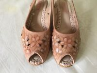 WOMENS SPANISH PIKOLINOS SLINGBACK SHOES LIGHT PINK FLOWER PRINT SUPER SOFT LEATHER SANDLES SIZE 5