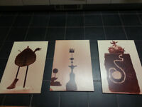 Photo-set trio of mysterious ethnic objects - wall mounted - Collect in Bow