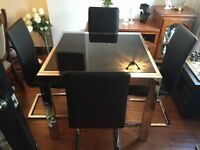 Black Glass and Chrime Table and Chairs with 2 matching sets of shelves (shelves have been altered)