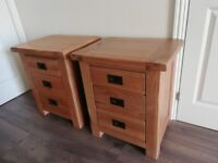 Two brand new solid oak bedside drawers.