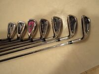 acer xp 905 pro, irons, +1 inch, stiff shafts, low handicap irons.midsize grips
