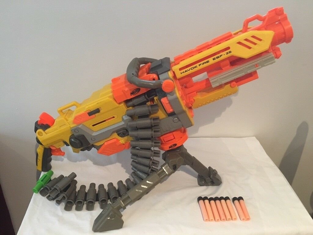 Hasbro NERF Nstrike Havok Fire EBF-25 Blaster with ammo belt, stand and ammo. (VGC)
