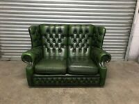 FREE DELIVERY REAL LEATHER EMERALD GREEN CHESTERFIELD SOFA GREAT CONDITION