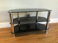 Black glass and chrome TV stand - perfect condition