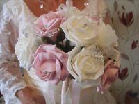 wedding bouquet pink and ivory