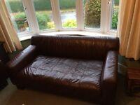 John Lewis dark brown leather sofas x2