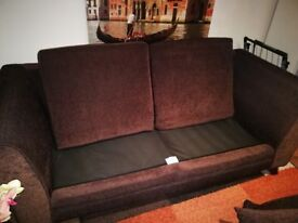 2 sofas, 2 seater and 3 seater in brown