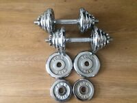 SET OF SOLID BAR DUMBELLS WITH 24.5KG OF YORK CHROME WEIGHTS
