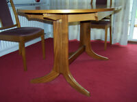Nathan Furniture 1987 Vintage extending Dining Table and 4 Chairs