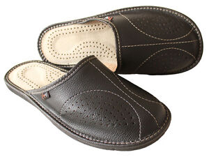 New-Mens-Black-100-Leather-Slippers-Slip-On-Shoes-Size-7-8-9-10-11-12-13-Luxury