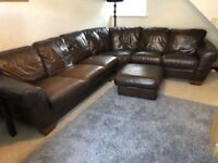 LARGE BROWN LEATHER CORNER SOFA WITH FOOTSTOOL - MUST GO ASAP - CHEAP DELIVERY - £325