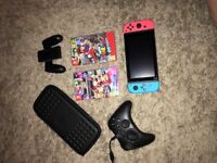**NEW** Nintendo Switch Console + 2 Games + Extra Controller + Travel Case