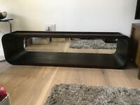 Beautiful dark wood/ mirrored shelf display unit