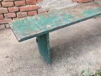 Green painted Wooden Vintage School Bench Rustic Chairs Stool Picnic Garden