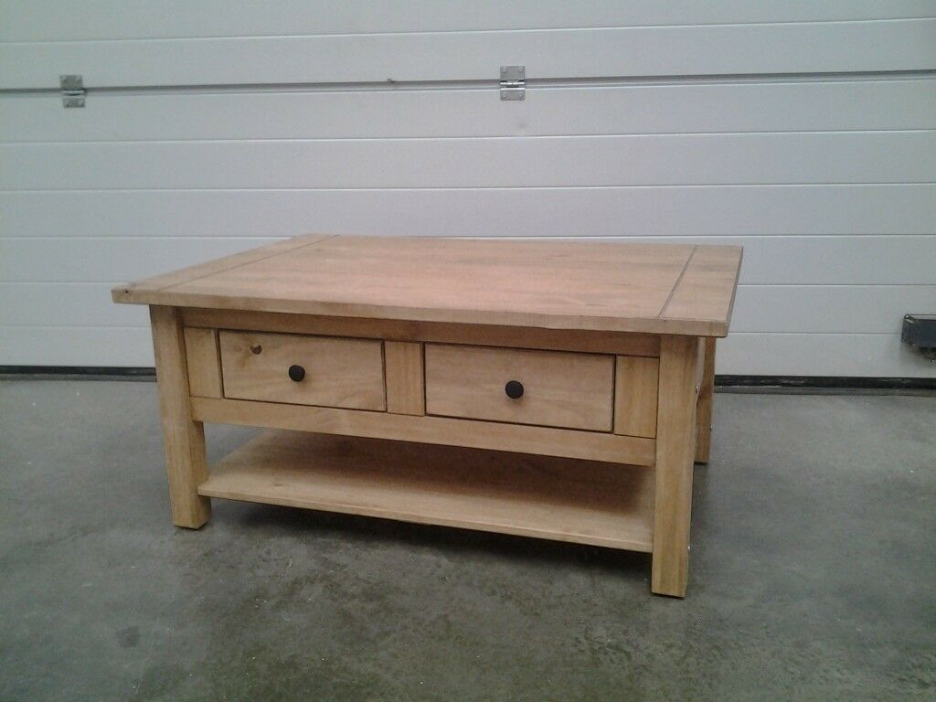 Ex Display Coffee Table With 2 Drawers Shelf Mexican Pine Bargain Can Deliver In Norwich Norfolk Gumtree