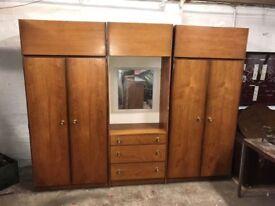 Mid century teak wardrobe set