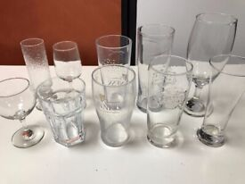 10 x Various drinking glasses, some interesting brands - Guiness, Old Speckled Hen etc