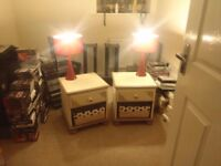 2 beautiful art deco chabby chic bedside tables. Funky and gorgeous plus 2 red lamps. May split