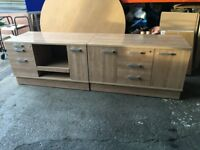 PAIR OF VERY HIGH QUALITY OFFICE STORAGE CUPBOARDS LIGHT TEAK