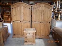 2 mexican pine wardrobes and bedside locker