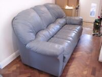 Lovely blue leather 3-seater sofa