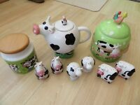DUNOON COFFEE JAR, COW TEAPOT, FARM ANIMAL THEMED BISCUIT BARREL + 3 COW SALT & PEPPER POTS