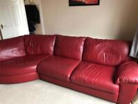Ikea red leather corner sofa with footstool