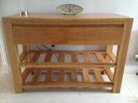 Solid Oak Furniture 3 pieces. Sideboard, console and side table