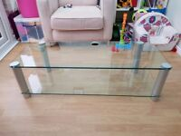 Large Glass TV Stand with Shelf Perfect for large LCD, Plasma TV's Excellent Condition