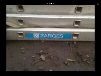 QUALITY ZARGE 21ft 3 TIER ALUMINIUM LADDERS WITH SPREADER BAR FEET