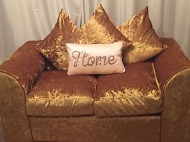 2 and 3 seater sofa gold crushed velvet 6 months old